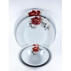 Royal White Ceramic Serving Dinner Plate 26 cm  Red Rose Side Round Shape