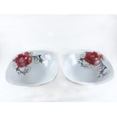 Royal White Ceramic Serving Bowls 14 cm  Red Rose Square Shape