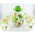 Water Set 6 Glasses & 1 Jar, Green and Blue Rose Design