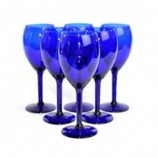 Blue Wine Glass / Water Goblet Set (6 Glasses)
